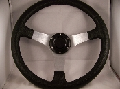 "13"" Black Steering Wheel 3 Spoke Chrome Holes"