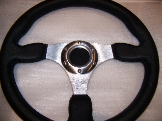 "REAL LEATHER STEERING WHEEL 13"" ALUMINUM 3 SPOKE"
