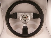 "STEERING WHEEL 13"" RUBBER with ALUMINUM 3 SPOKE"