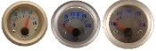 "2"" silver gauge set with silver face electronic gauges oil pressure volt water temp"
